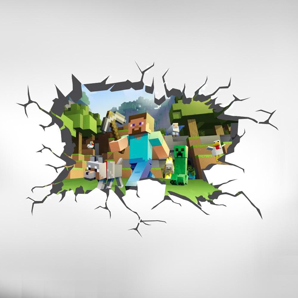 Adesivo Decorativo Parede Buraco 3d  Minecraft
