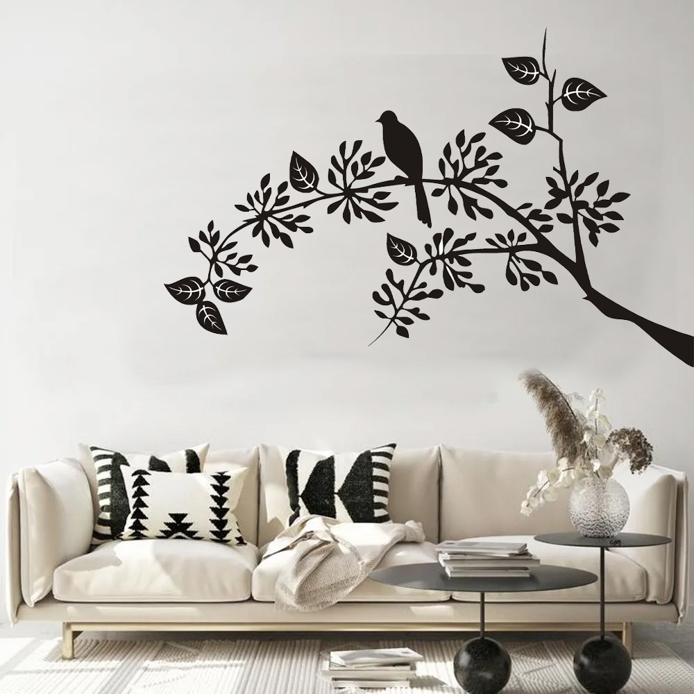 Adesivos Decorativos Galho Curvado com Pássaro