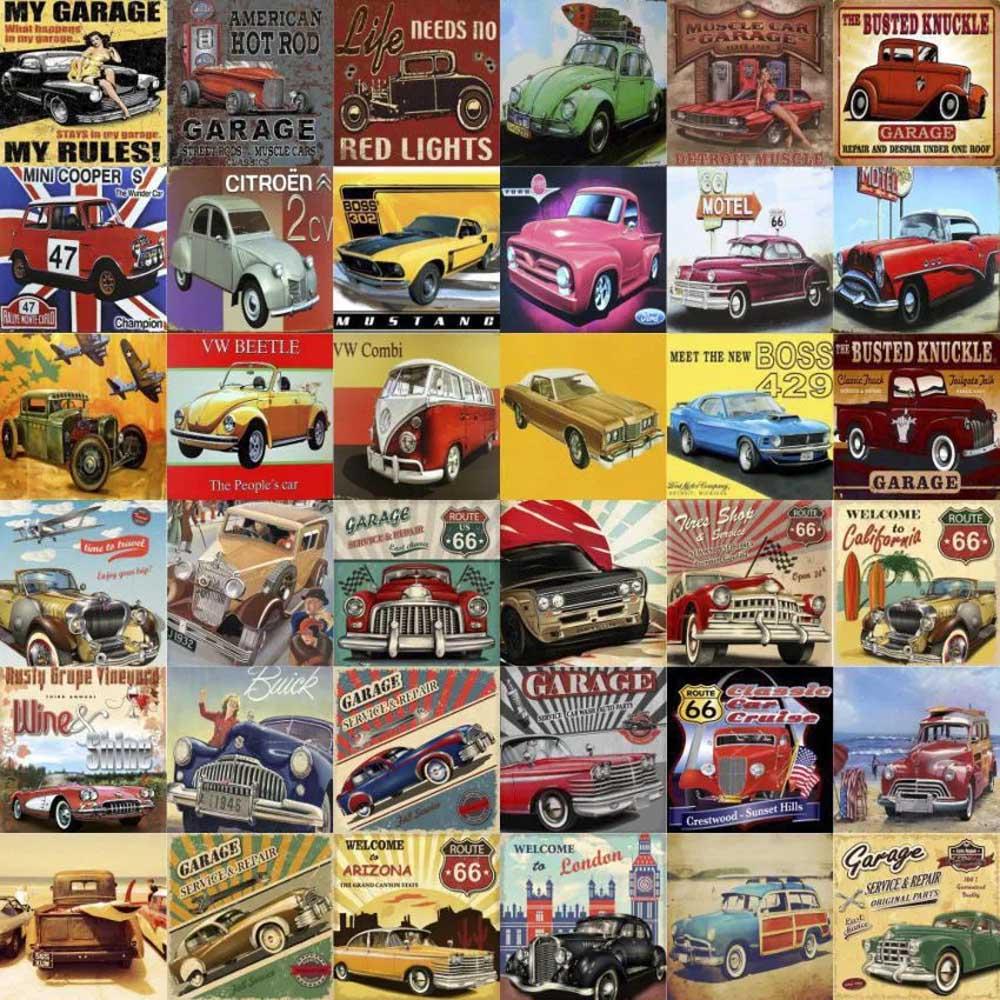 Azulejos Adesivo Decorativos Carros Vintage 36 Unidades