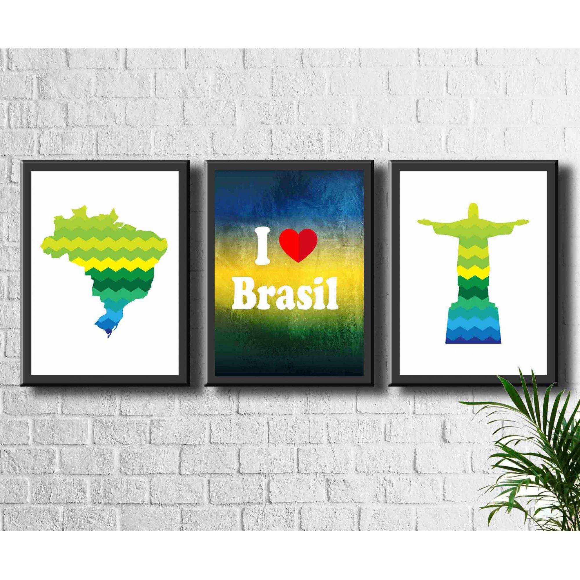 Kit 3 Quadros Decorativos Futebol Cristo Redentor Copa