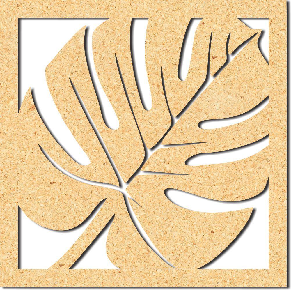 Escultura em Mdf Recorte Folha Costela de Adão crua 40x40