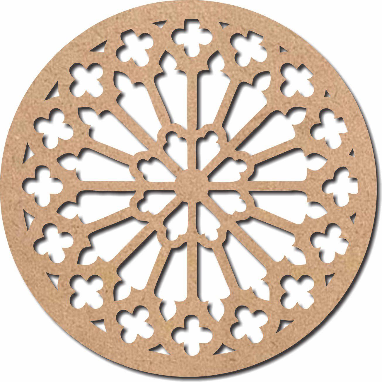 Escultura em Mdf Recorte Mandala Arabesco 60x60 M12