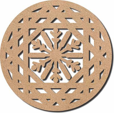 Escultura em Mdf Recorte Mandala Geométrico 60x60 M10