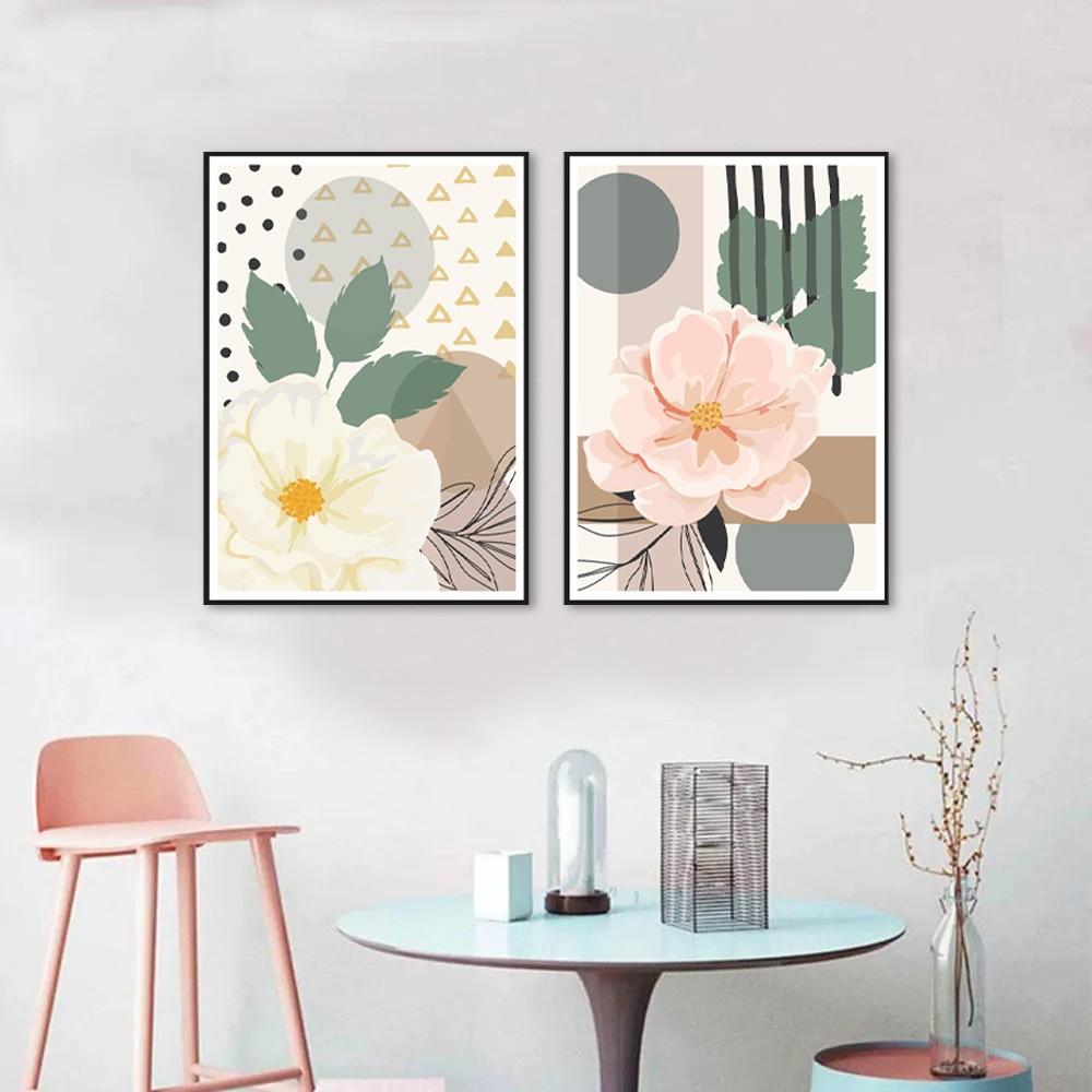 Kit 2 Quadros Decorativos Flores Rose