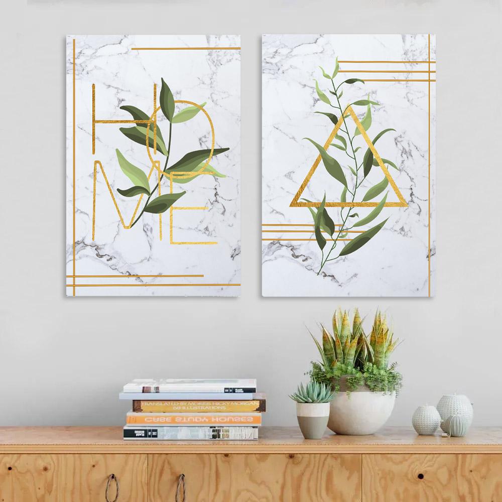 KIt 2 Quadros Decorativos Home dourado mamore folhagem