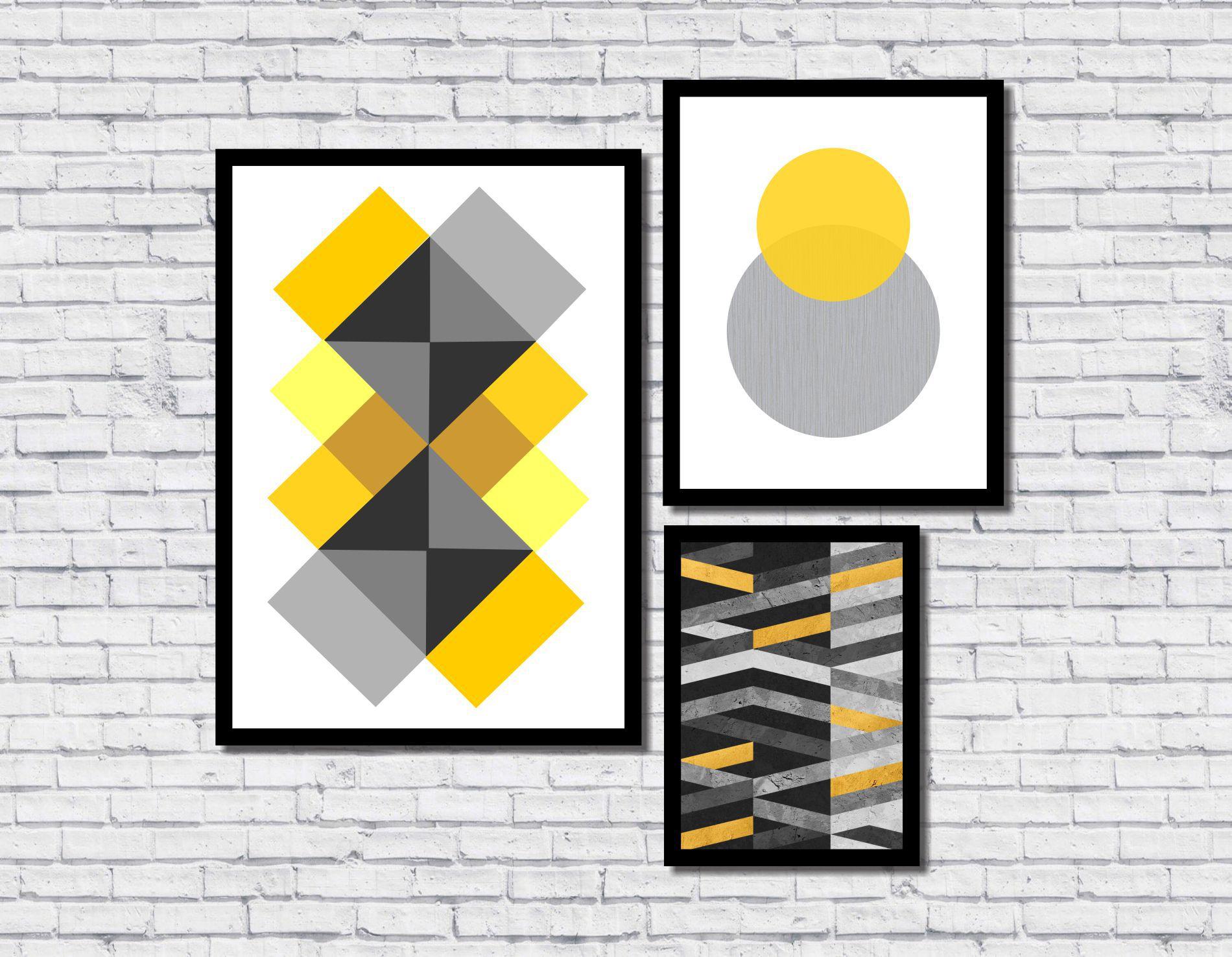 Kit 3 Quadros Decorativos Abstrato Geométrico Amarelo Cinza