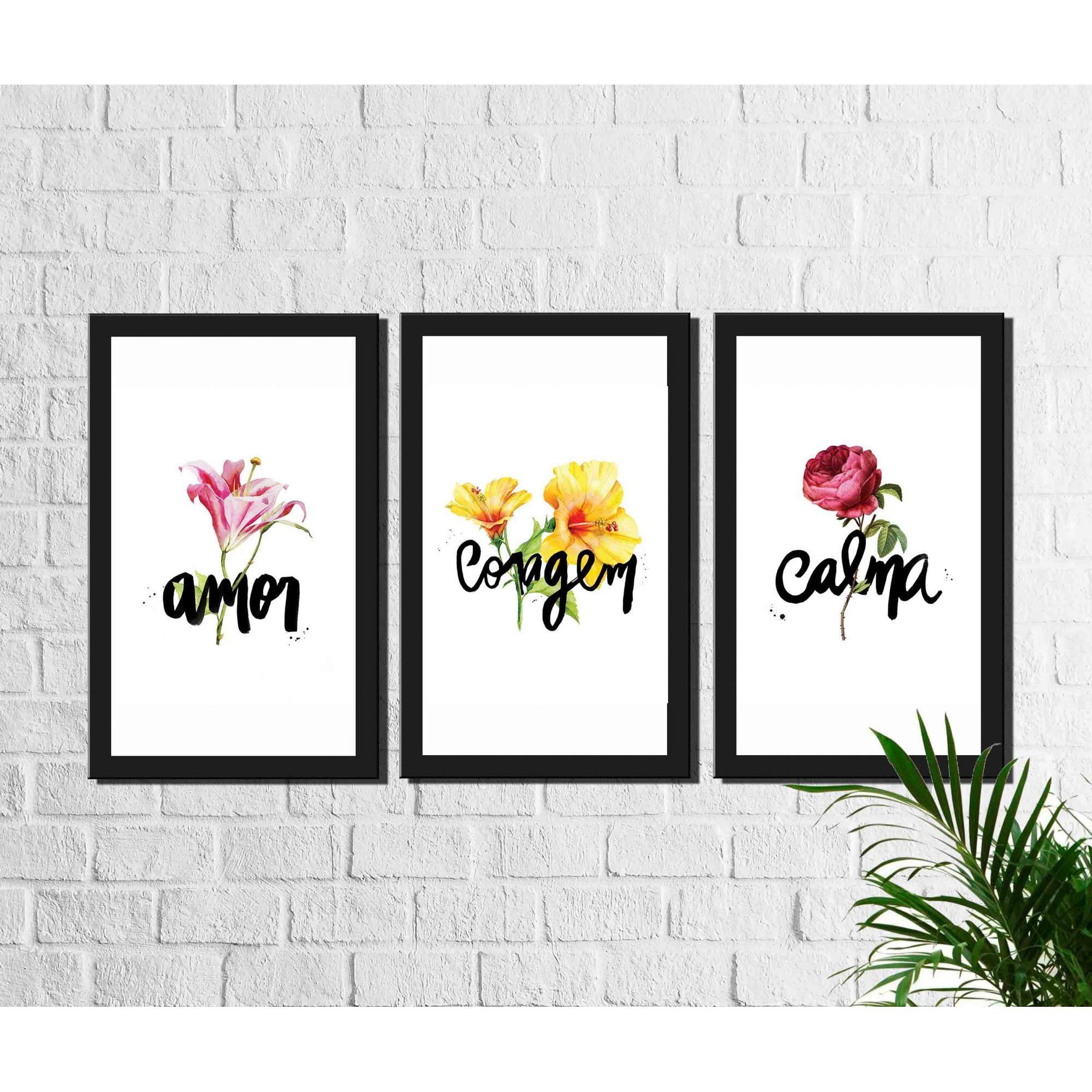Kit 3 Quadros Decorativos Amor Coragem Calma com Flores