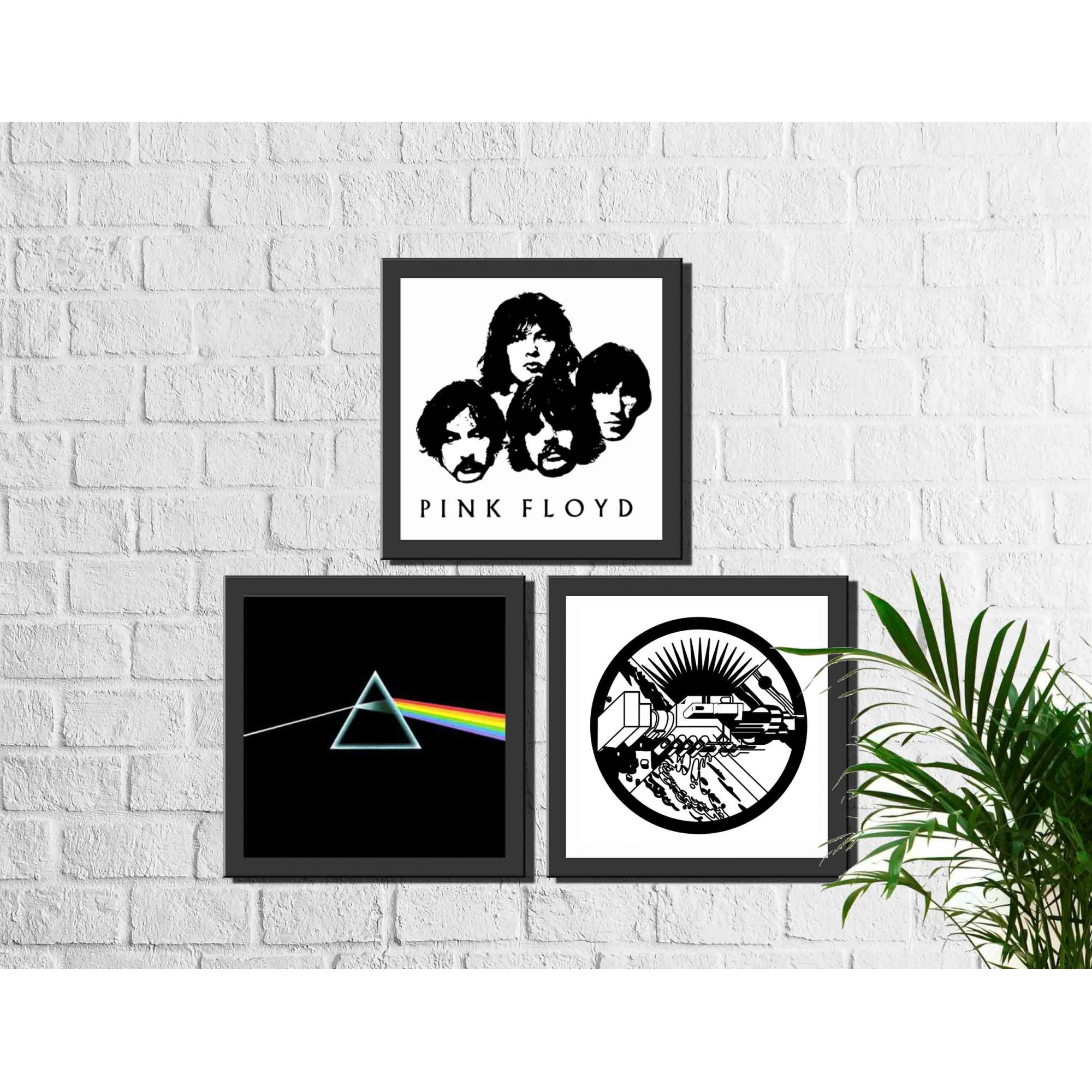 Kit 3 Quadros Decorativos Banda Pink Floyd Rock