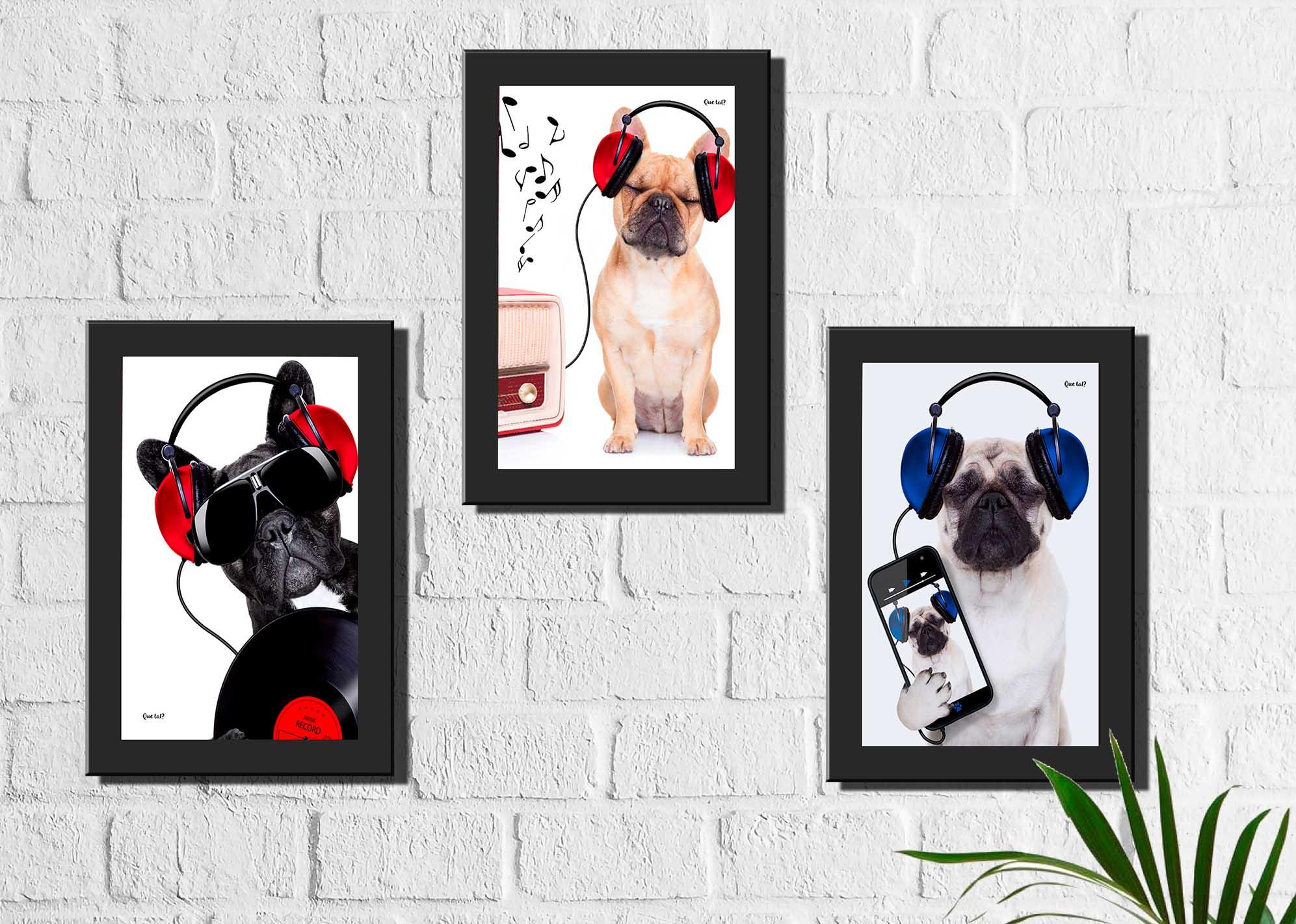 Kit 3 Quadros Decorativos Cachorros Música