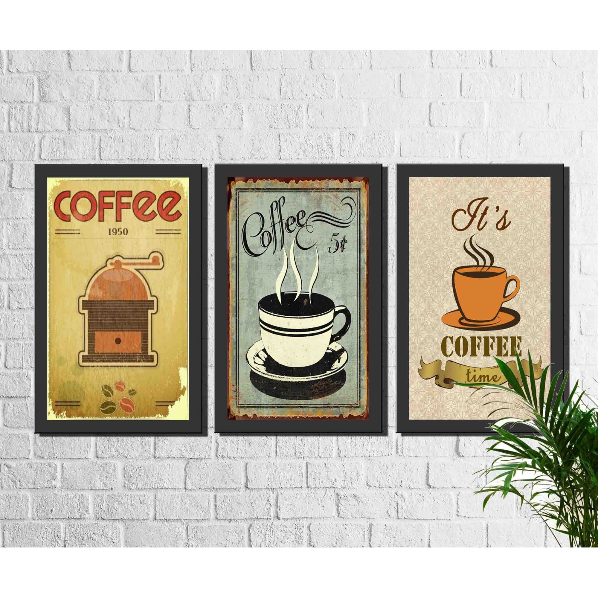 Kit 3 Quadros Decorativos Café Vintage