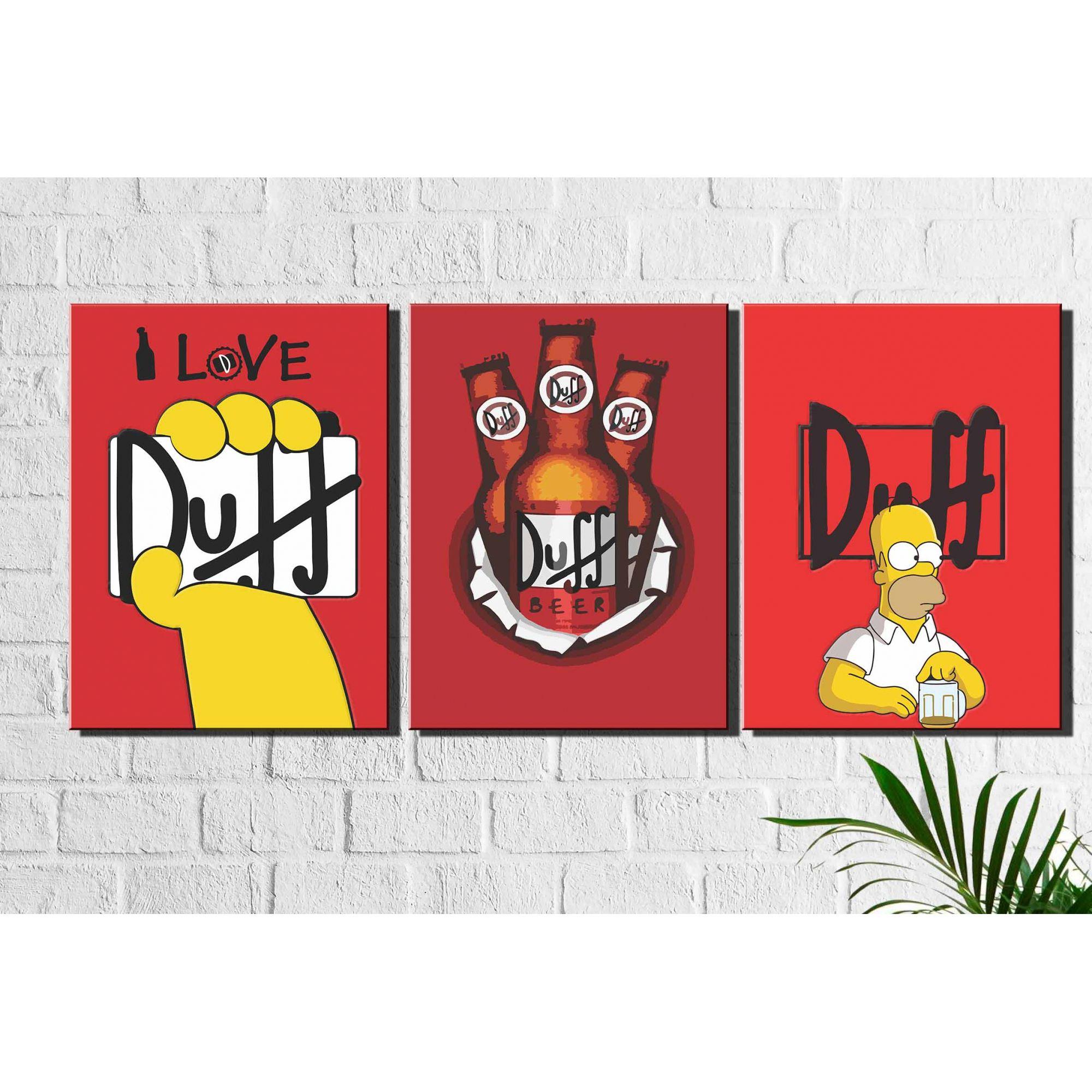 Kit 3 Quadros Decorativos Cerveja Duff Simpsons