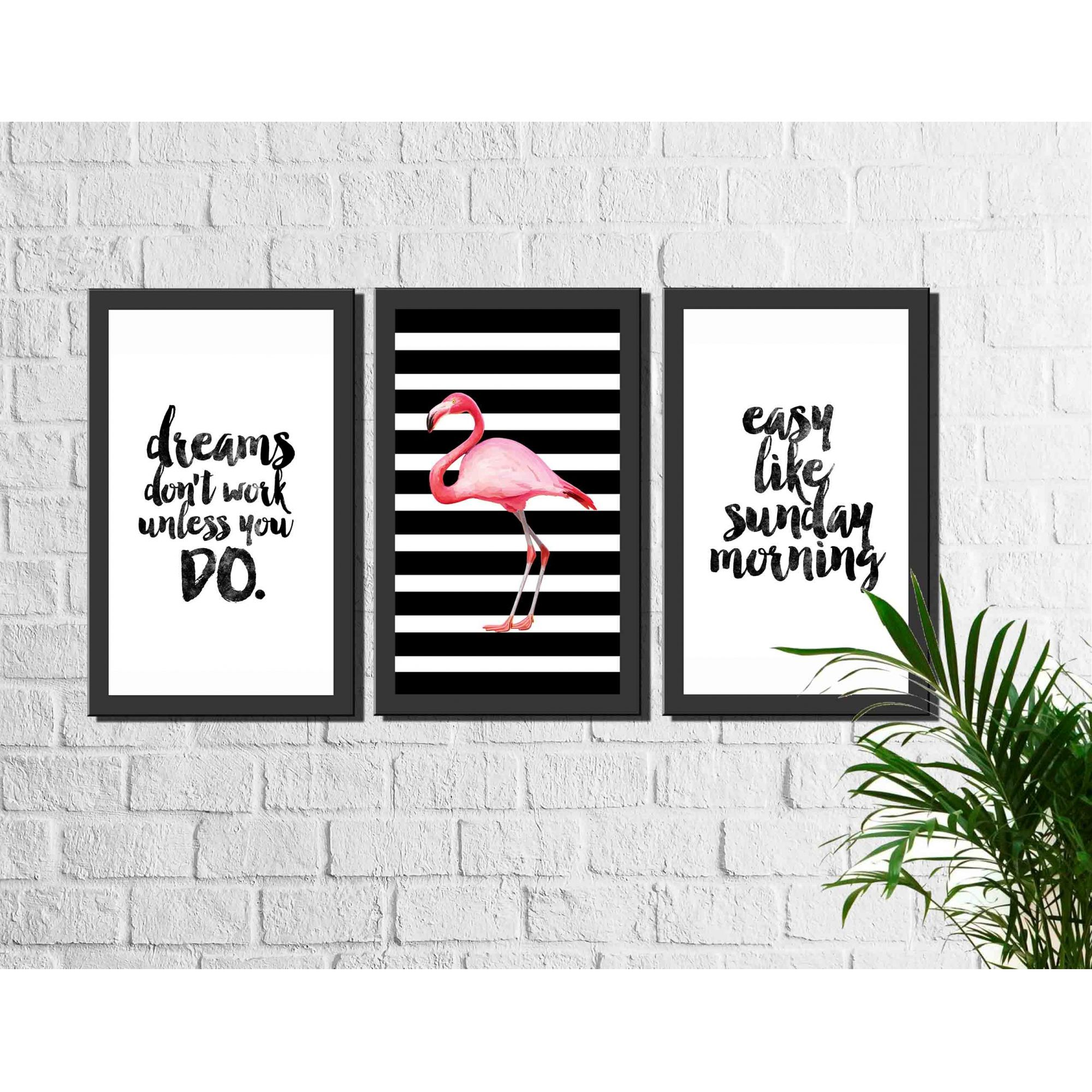Kit 3 Quadros Decorativos Flamingo e Frases