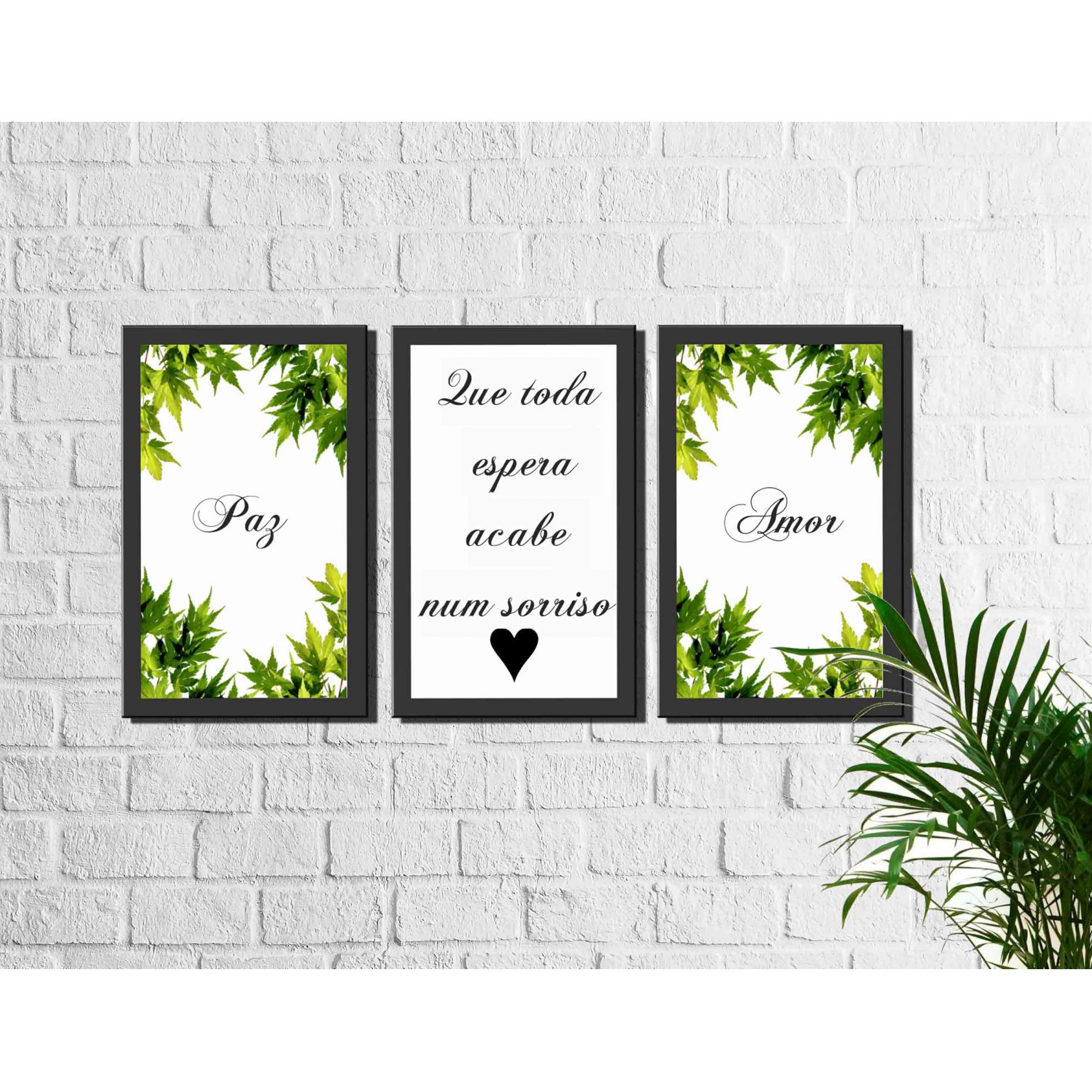 Kit 3 Quadros Decorativos Frase Amor Paz
