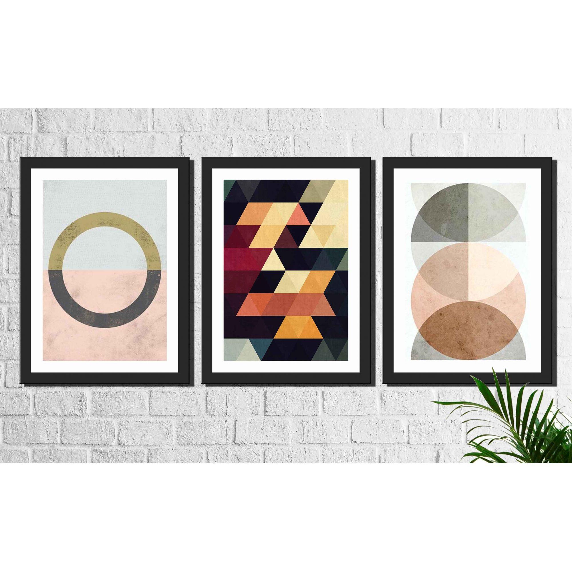 Kit 3 Quadros Decorativos Geométrico Colorido Formas