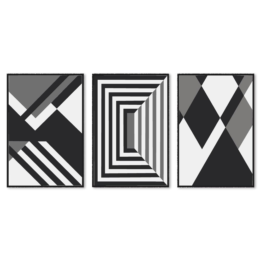 Kit 3 Quadros Decorativos Geométrico Monocromático