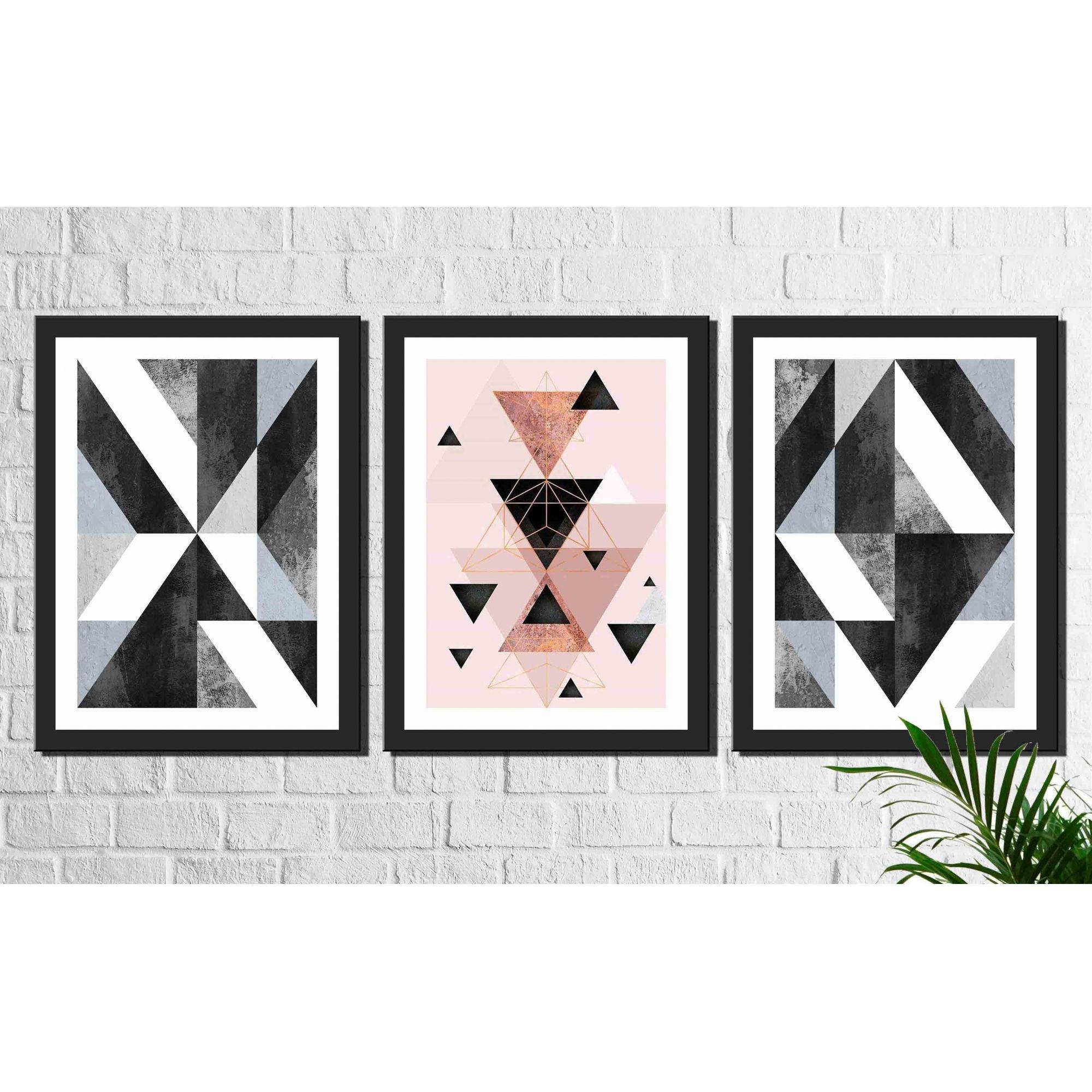 Kit 3 Quadros Decorativos Geométrico Rosa e Preto
