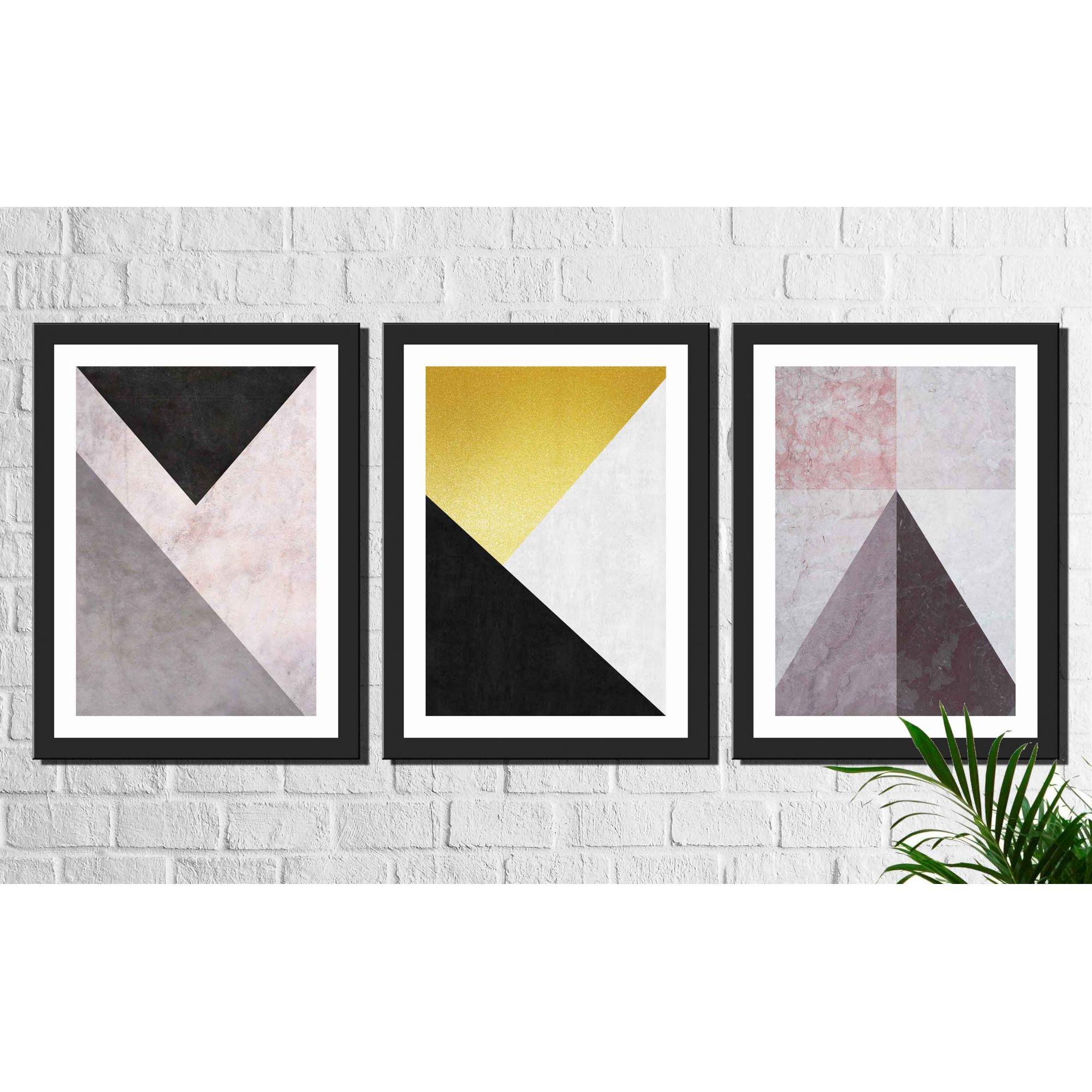 Kit 3 Quadros Decorativos Geométrico Triângulos