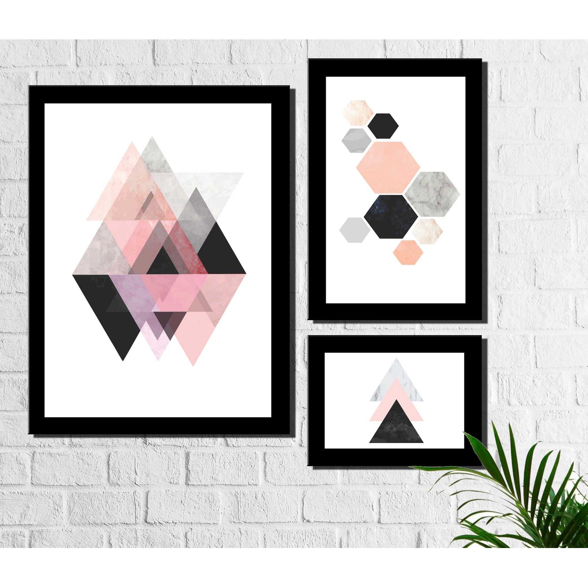 Kit 3 Quadros Decorativos Geométrico Triângulos Rosa