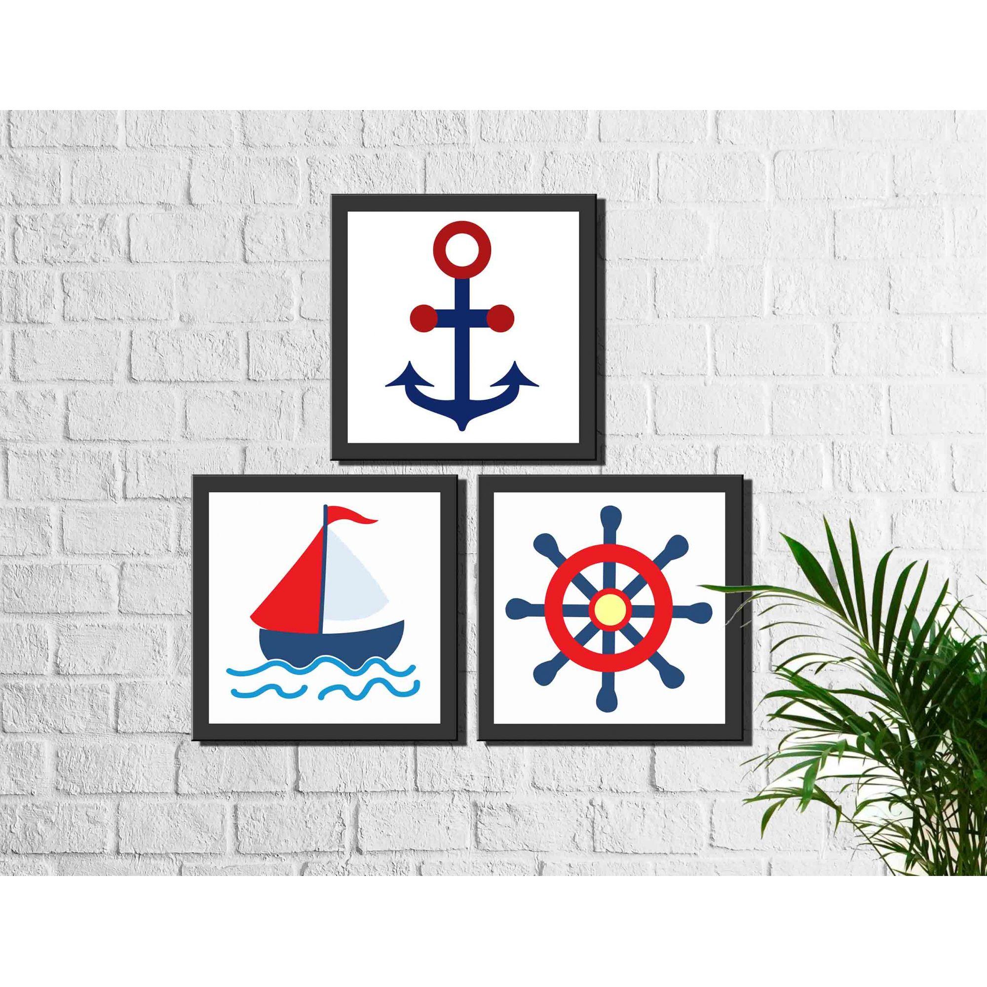 Kit 3 Quadros Decorativos Marinheiro Infantil