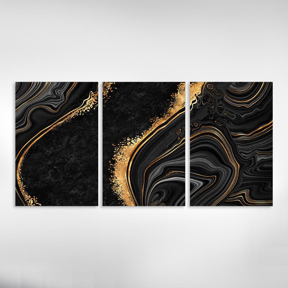 KIt 3 Quadros Decorativos Marmorizado PretoCom Dourado
