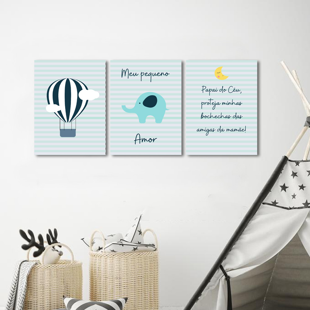 Kit 3 Quadros Decorativos  Meu pequeno amor Infantil  Menino