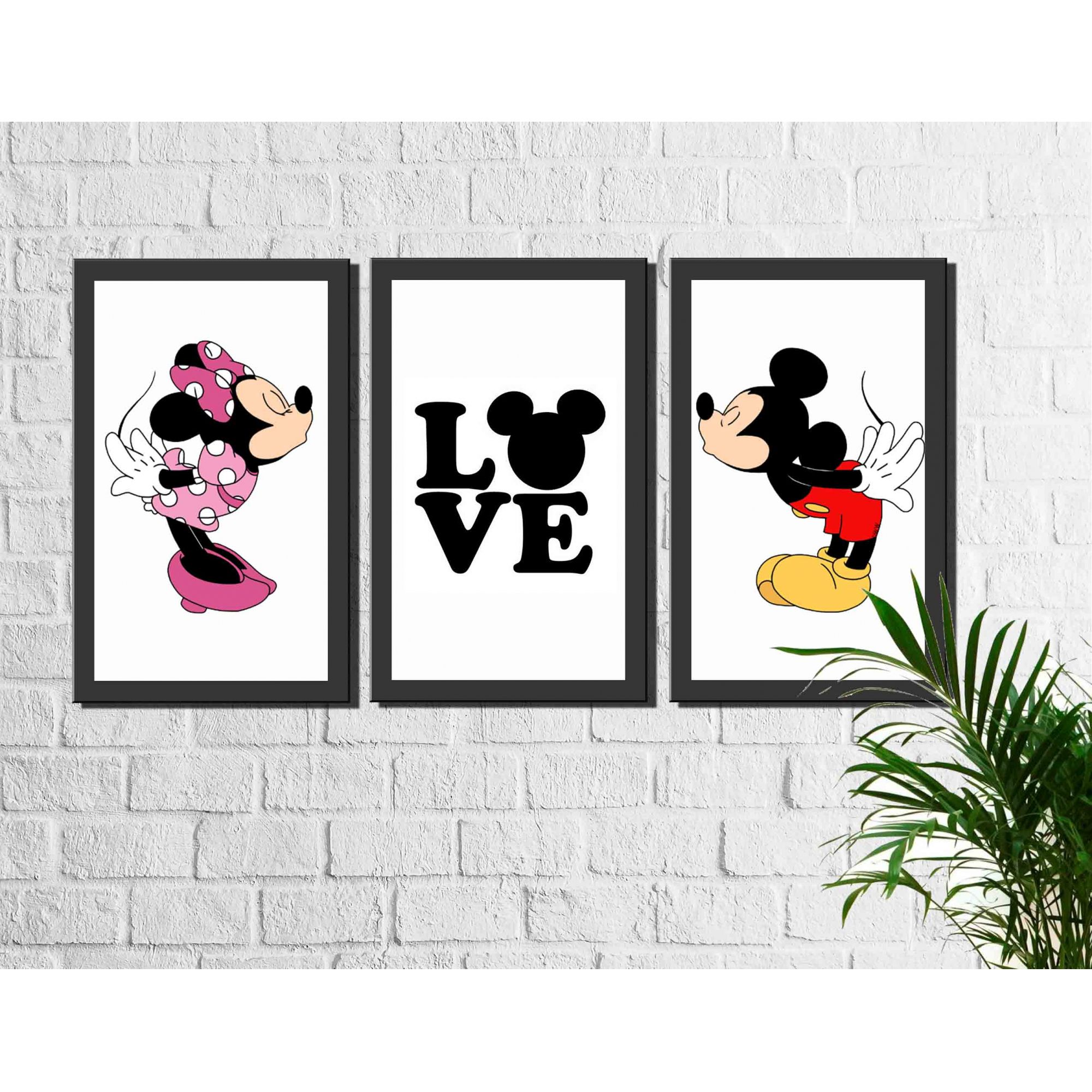 Kit 3 Quadros Decorativos Mickey e Minnie Love