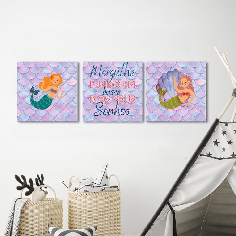Kit 3 Quadros Decorativos Sereia Infantil