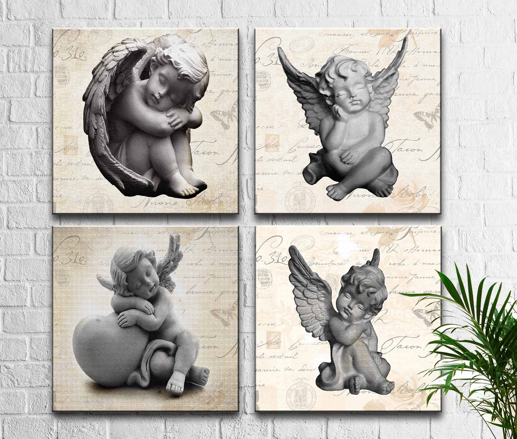 Kit 4 Quadros Decorativos Estátuas de Anjos m1