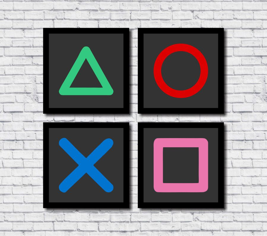 Kit 4 Quadros Decorativos Gamer Geek Teclas Playstation