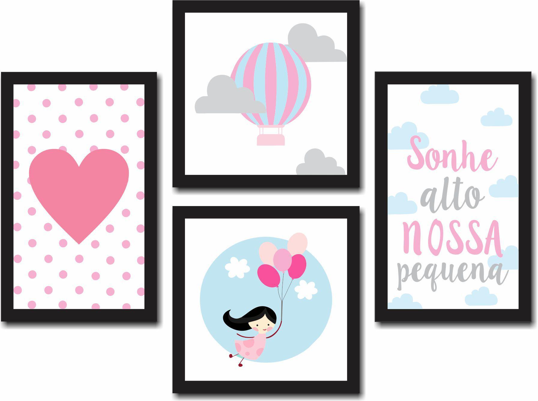 Kit 4 Quadros Decorativos Infantil Nuvens Rosa Personalizado