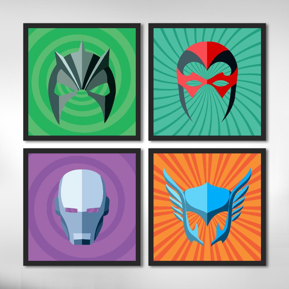 Kit 4 Quadros Decorativos Super Heróis