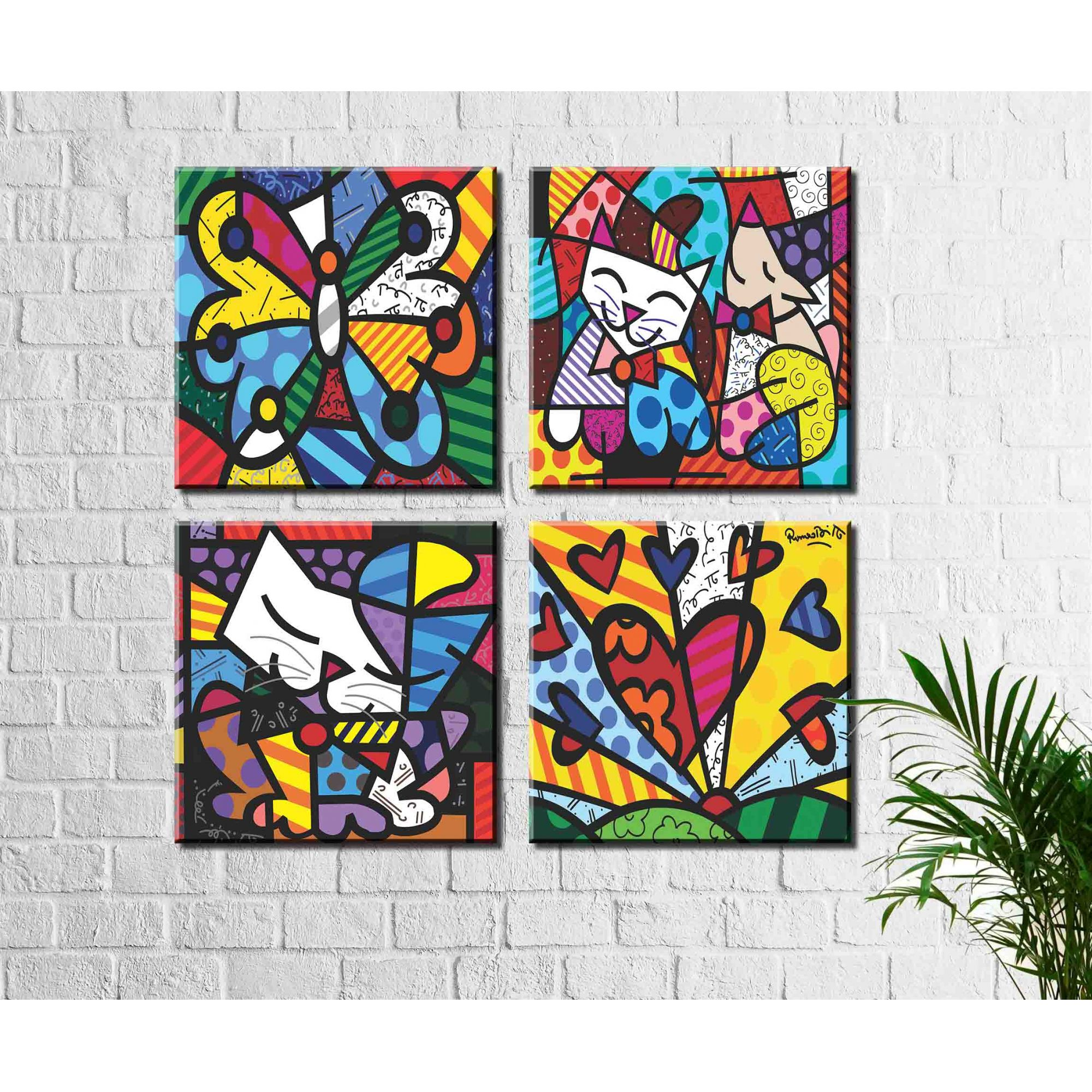 Kit 4 Quadros Romero Britto