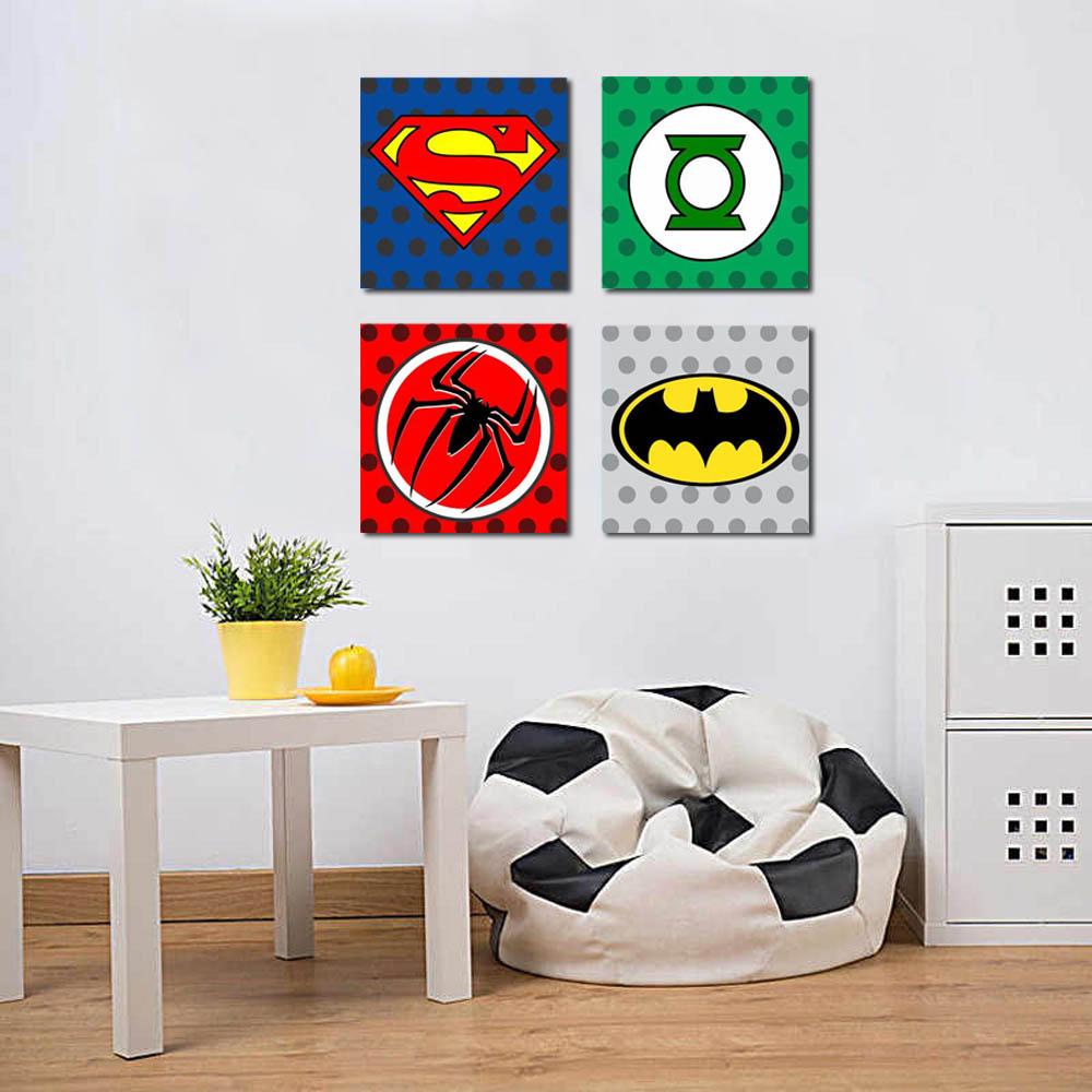 Kit 4 Quadros Super Heroes Kids Para Quarto Infantil