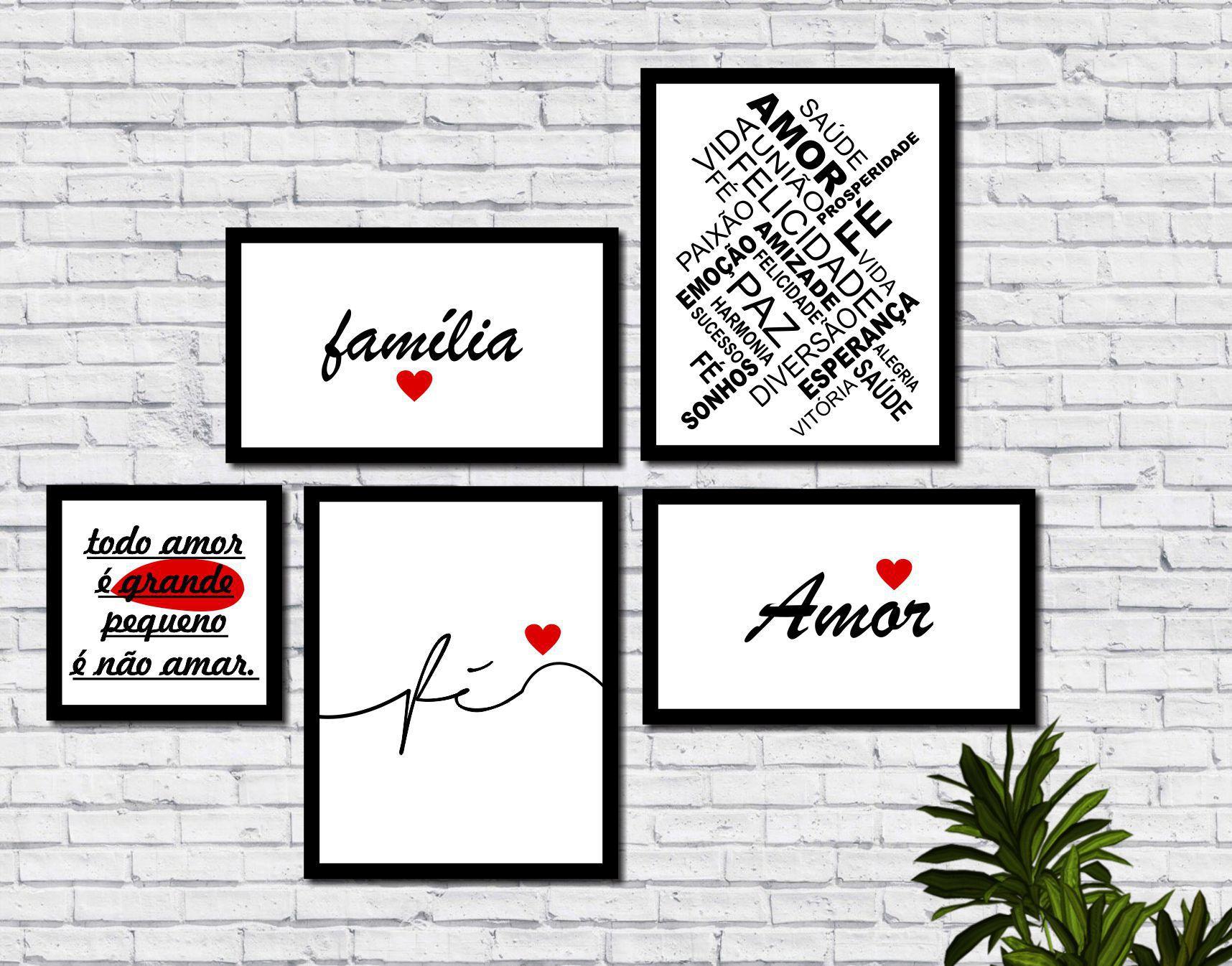4056b0dc9 Kit 5 Quadros Decorativos Família Amor Fé Frases - Arte Quadro - Quadros e  Adesivos Decorativos