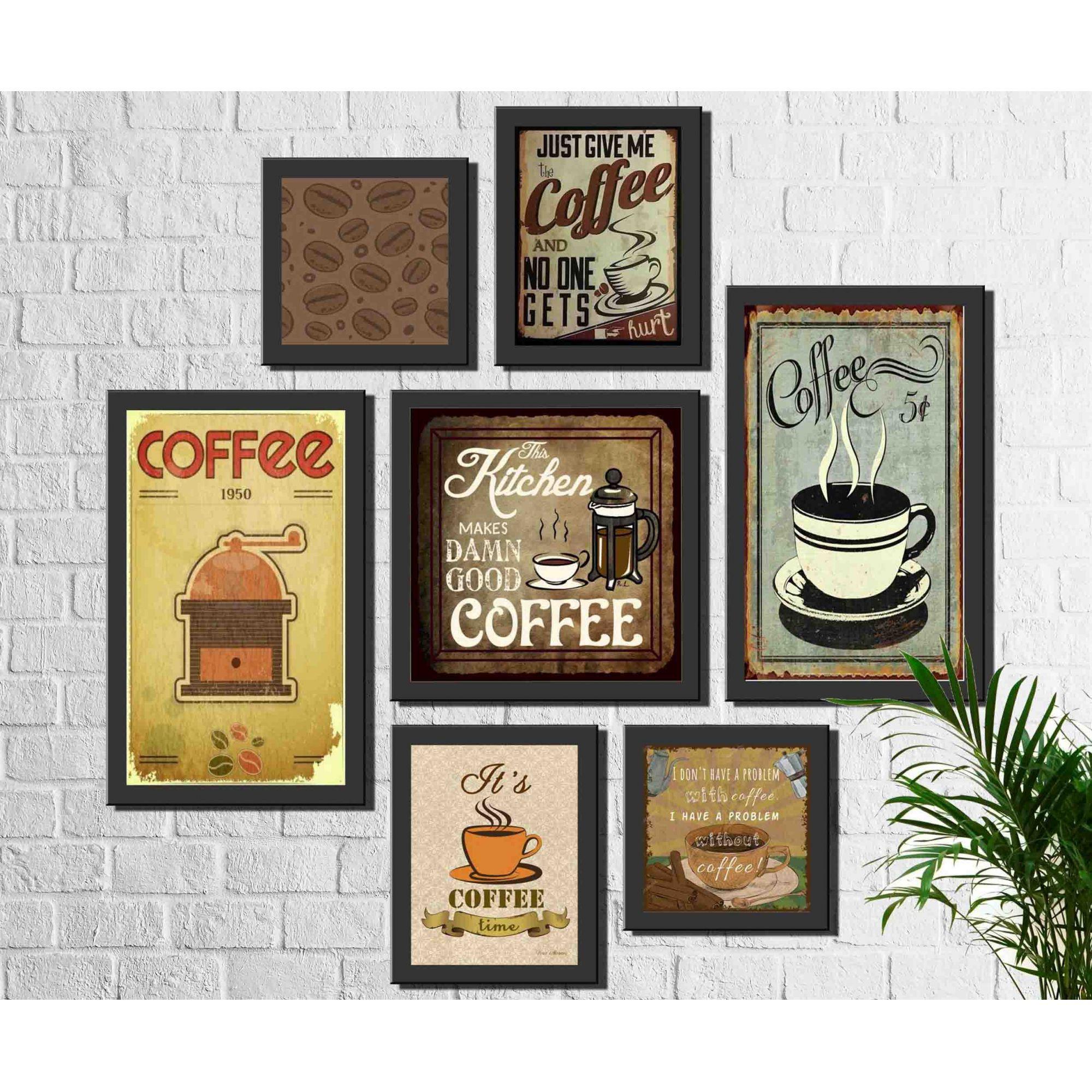 Kit 7 Quadros Decorativos Café Vintage