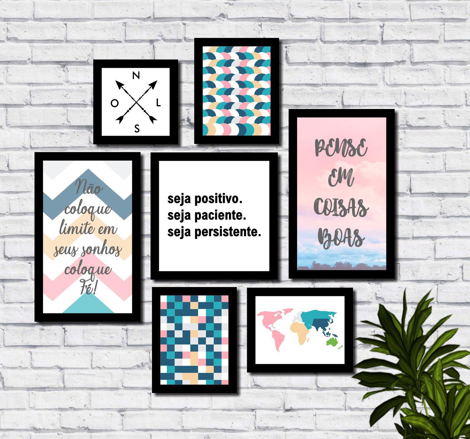 Kit 7 Quadros Decorativos Colorido Frases Motivacionais