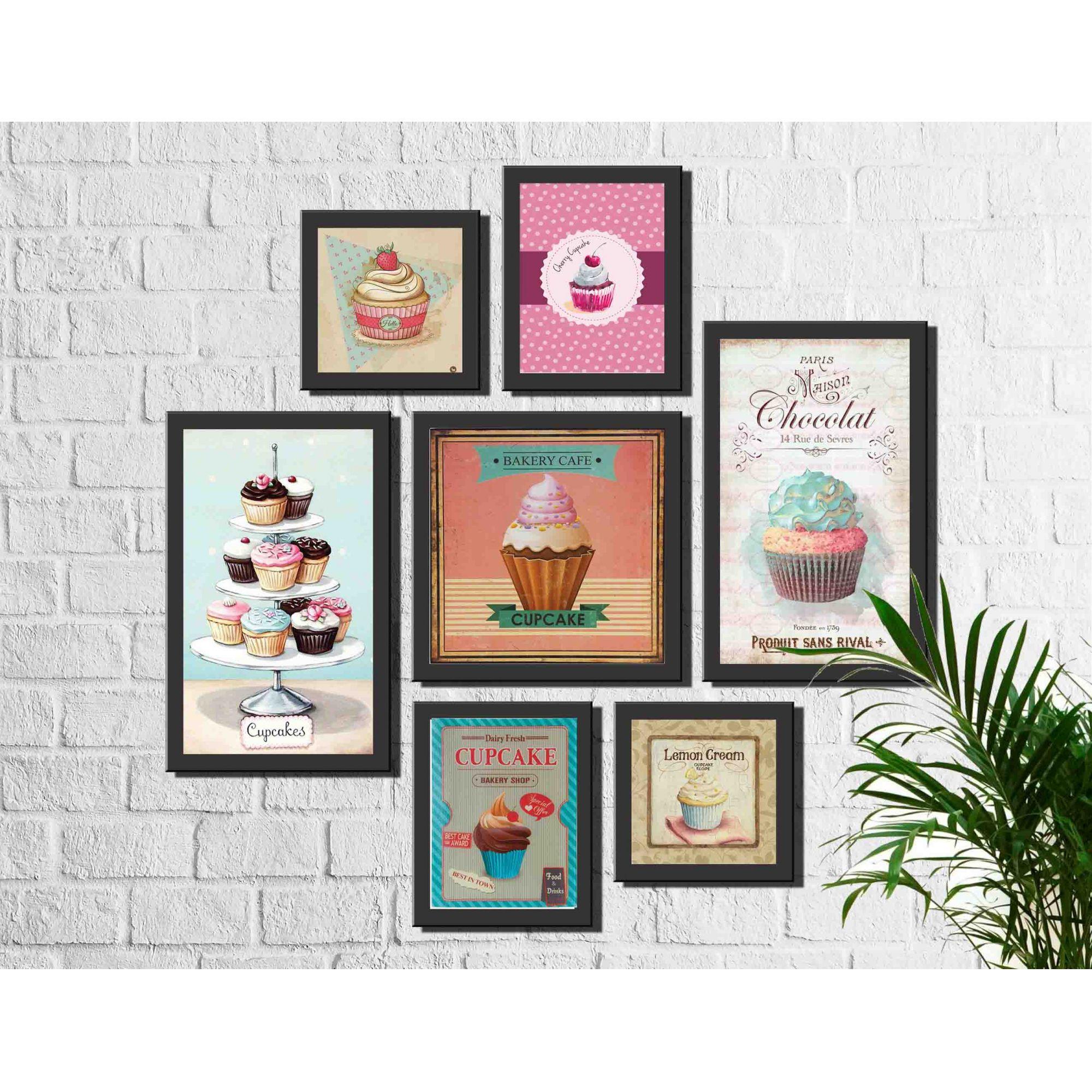 Kit 7 Quadros Decorativos Cupcake Vintage