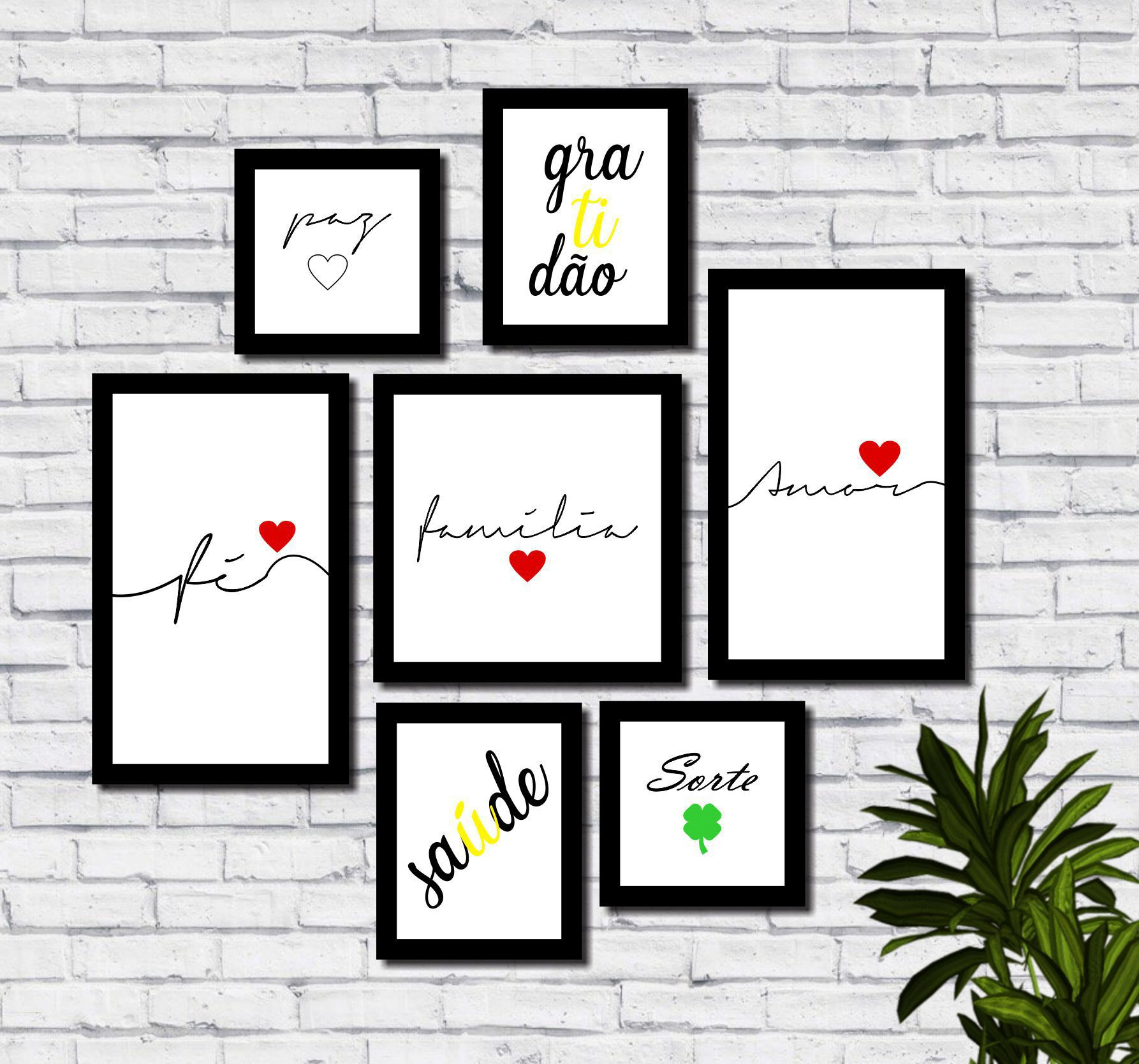 Kit 7 Quadros Decorativos Família Amor Fé