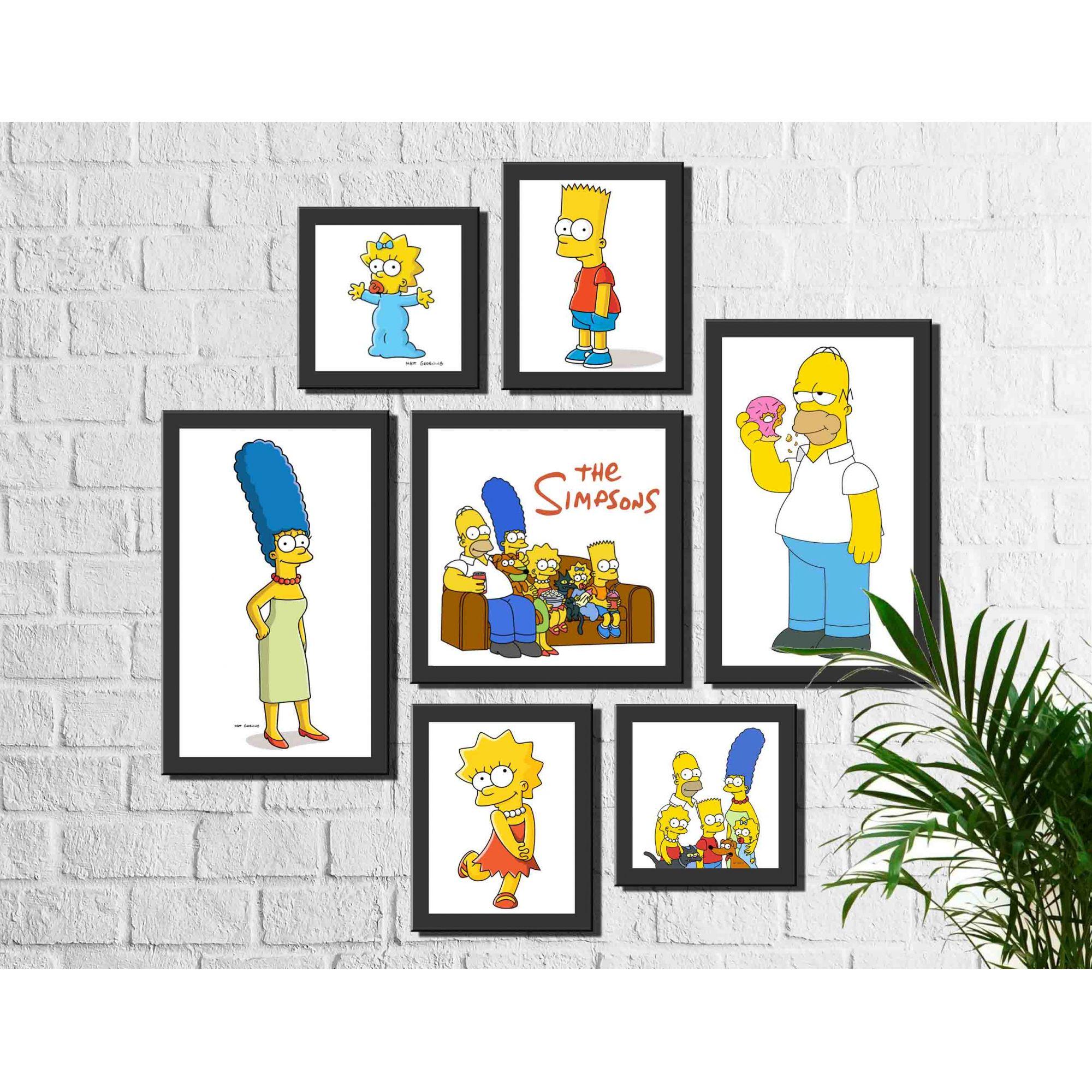 Kit 7 Quadros Decorativos Familia Simpsons