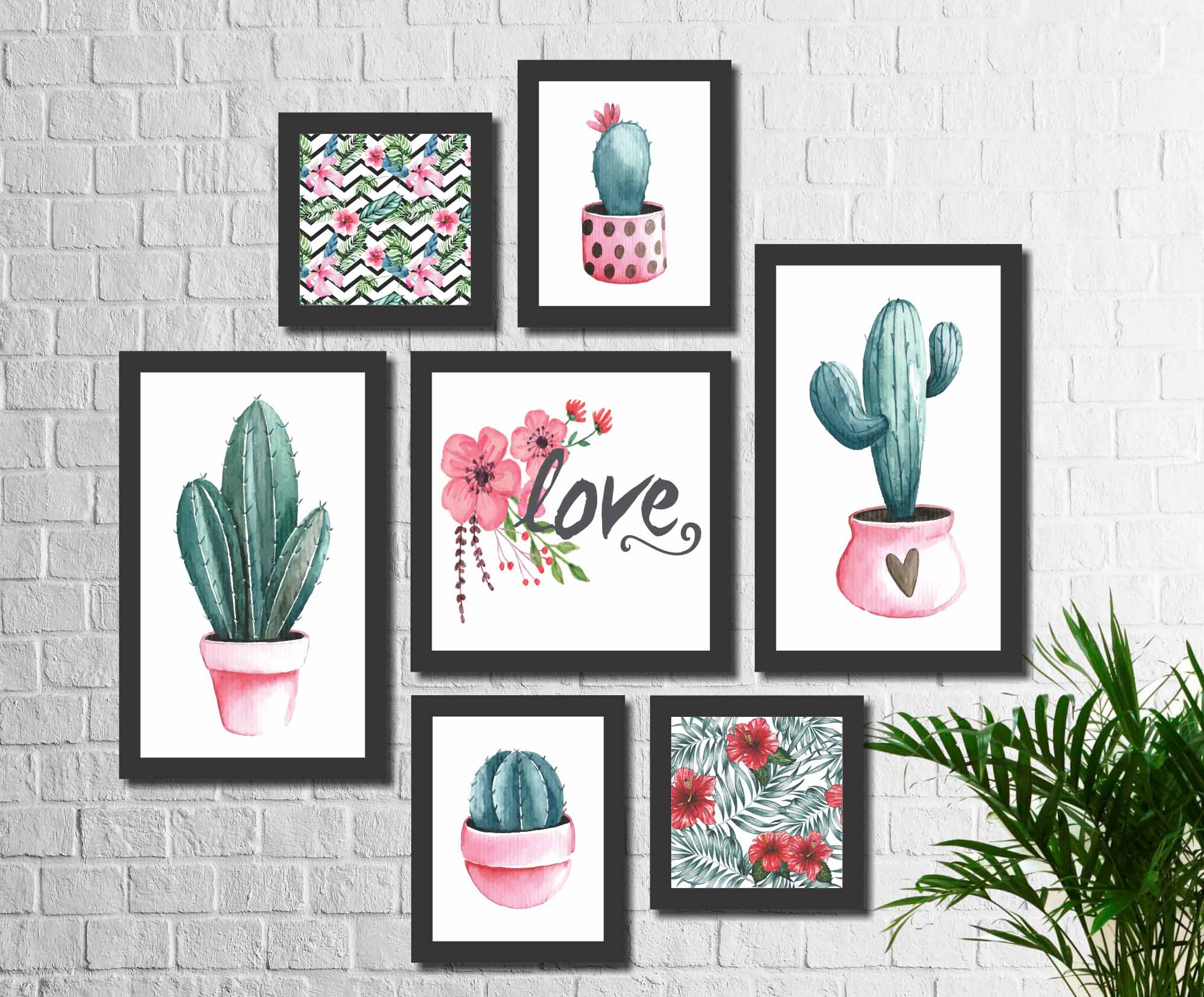 Kit 7 Quadros Decorativos Flor De Cactos No Vaso Love