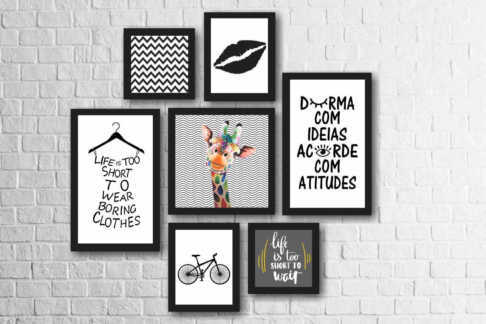 Kit 7 Quadros Decorativos Girafa Colorida Frases