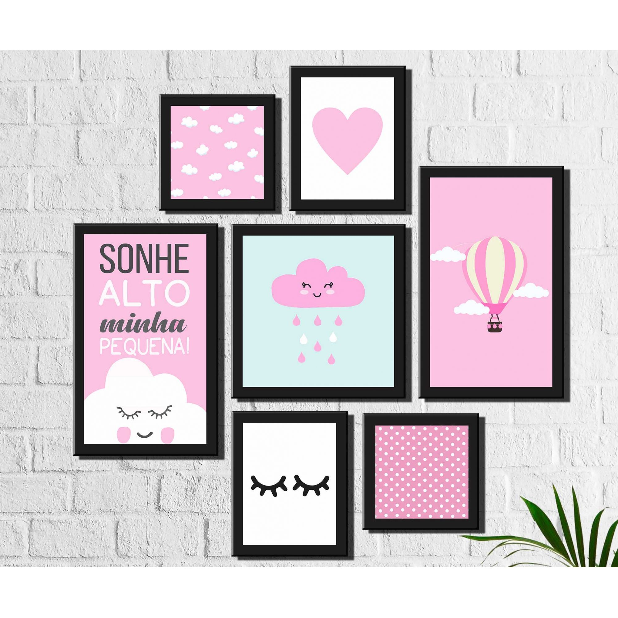 Kit 7 Quadros Decorativos Infantil Nuvens Rosas