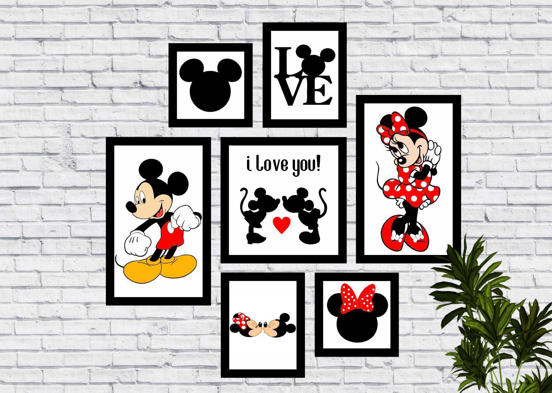 Kit 7 Quadros Decorativos Mickey e Minnie Love