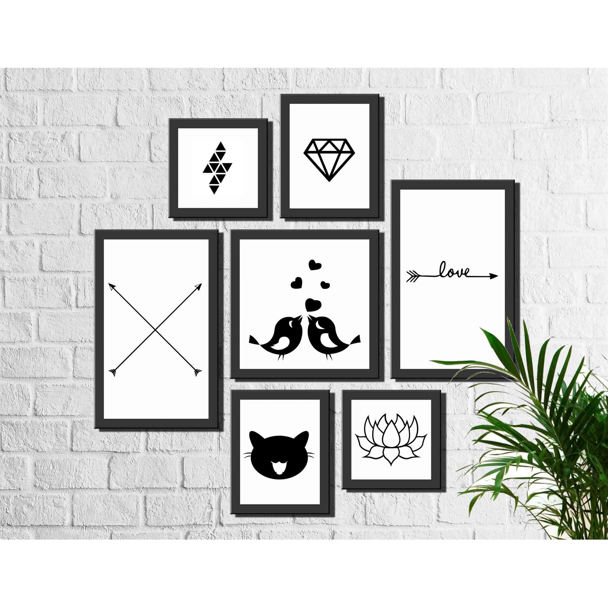Kit 7 Quadros Decorativos Minimalista Escandinavo