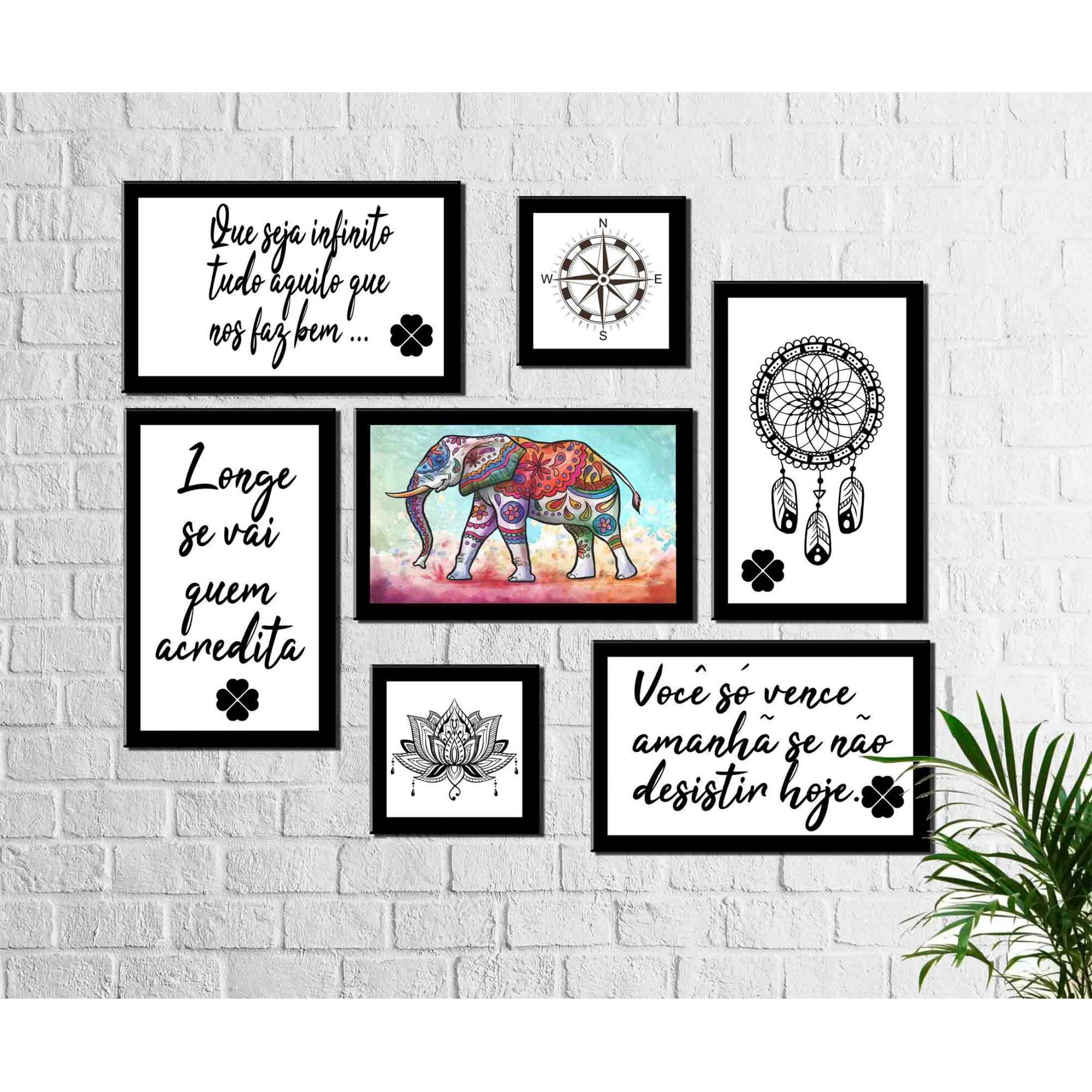 Kit 7quadros Decorativos elefante filtro sonhos frases