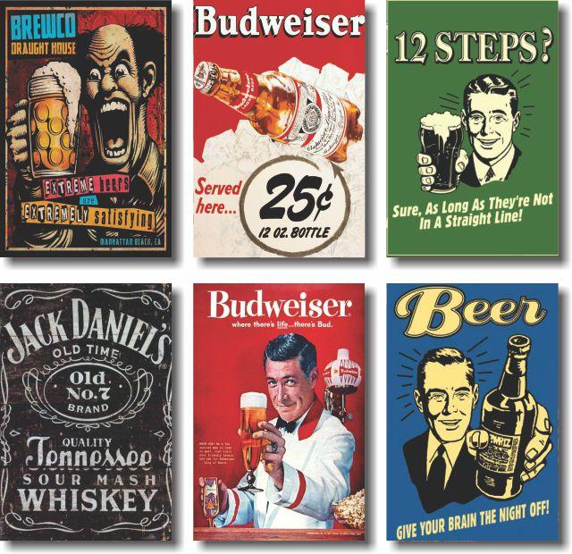 Kit De  Quadros Bebidas Cerveja Vintage Budweiser