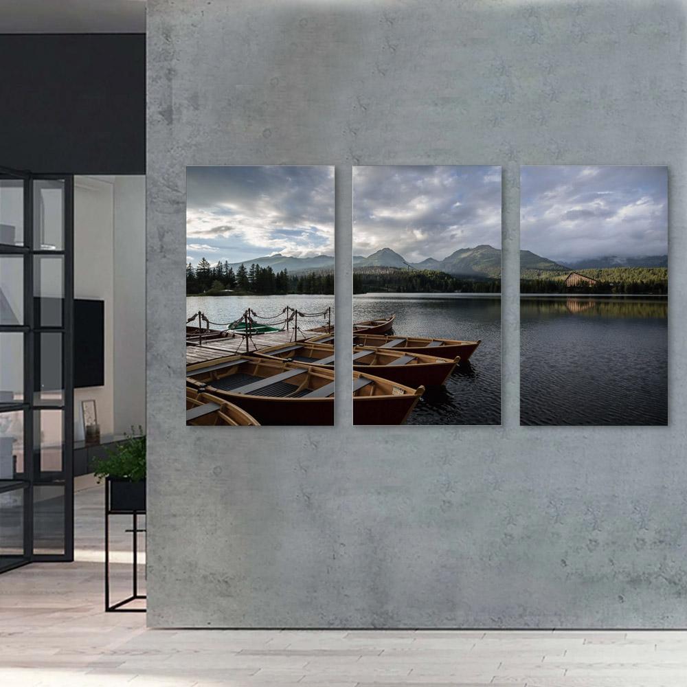 Kit Quadro Decorativo Barcos no Lago