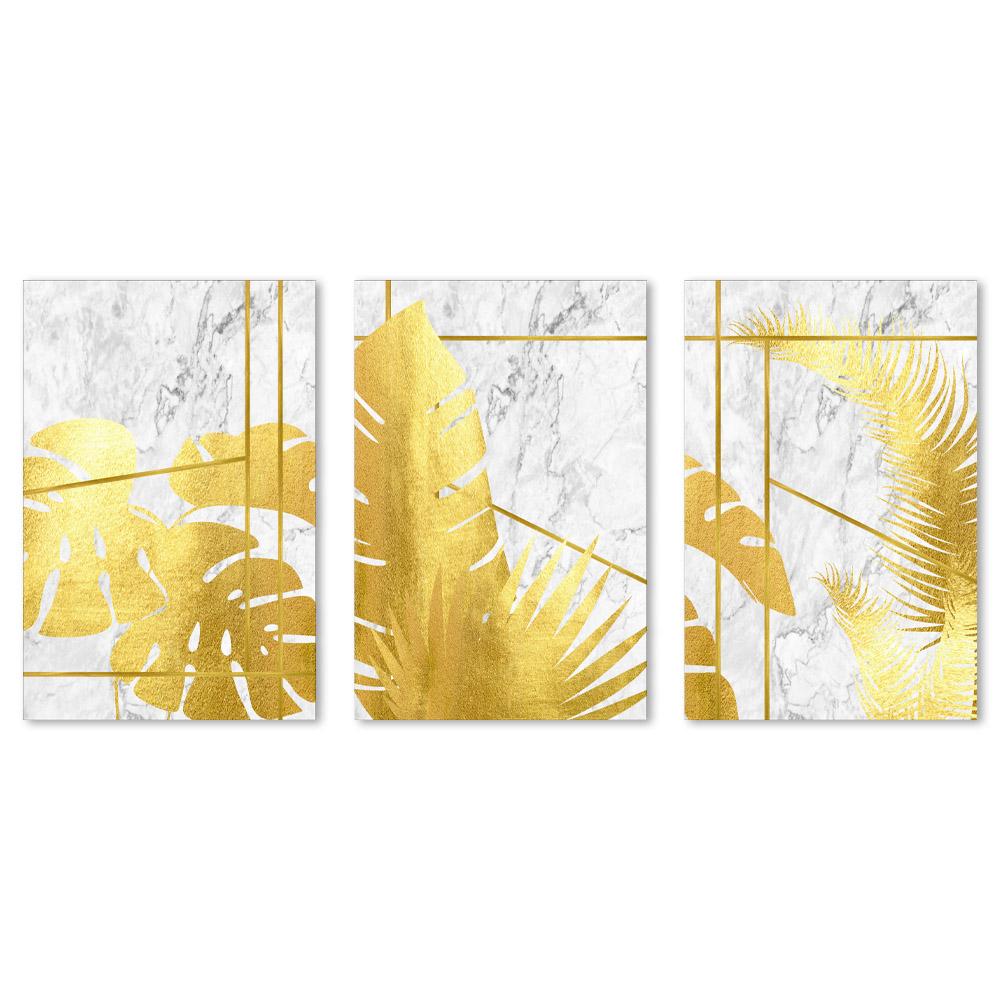 Kit Quadro Decorativo Marmorizado Folhagem Gold