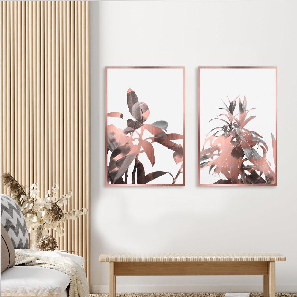 Kit Quadros Decorativo Folhagem Rose Gold