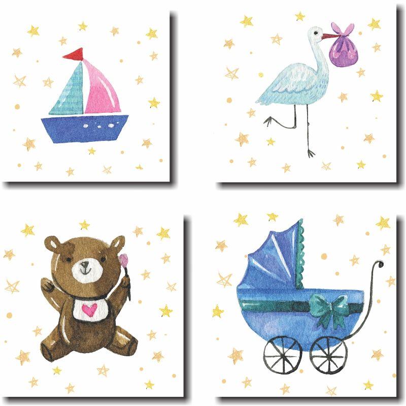 Kit Quadros Decorativo Para Quartos de Bebes